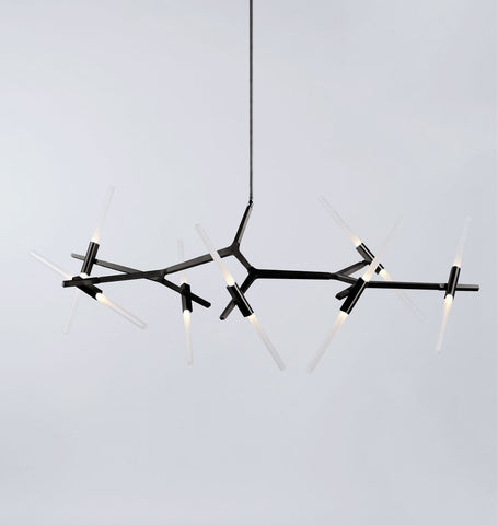Chandelier - 14 Lights (Black/Straight-cut glass)