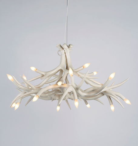 Chandelier - 12 Antlers (White)