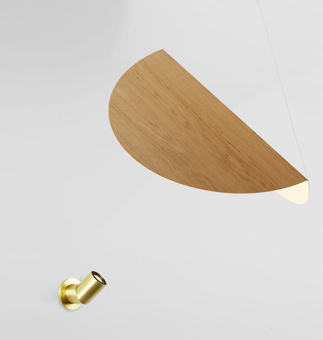 Large Shade - Wall Mount (White oak/Brushed brass)