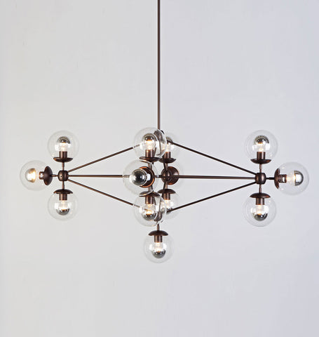Chandelier - Diamond, 13 Globes (Bronze/Clear)
