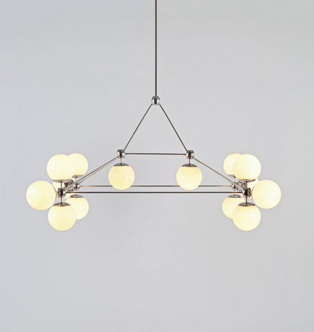 Chandelier - Rectangle, 14 Globes (Polished nickel/Cream)