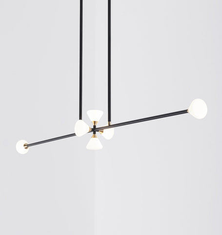 Chandelier - 6 Lights (Matte black/Brushed brass)