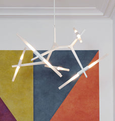 Chandelier - 10 Lights (Powder-coat gray/Straight-cut glass) - Great Jones Street, New York