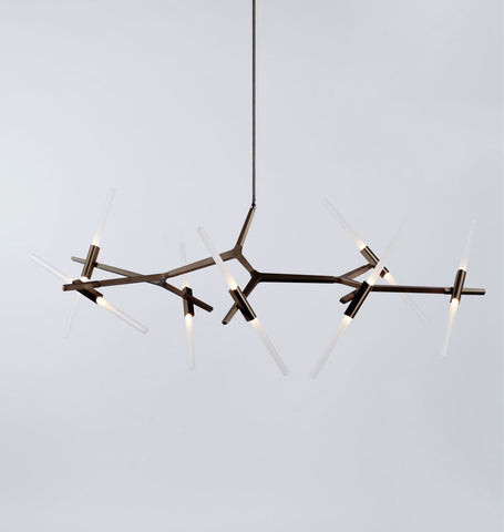Chandelier - 14 Lights (Bronze/Straight-cut glass)