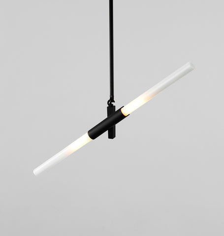 Pendant - 2 Lights (Black/Straight-cut glass)