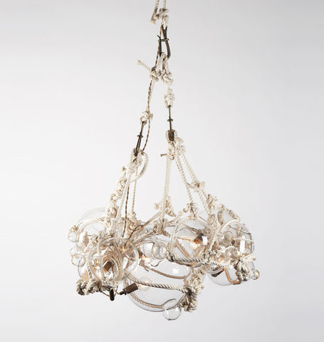 Chandelier - 1 Lg, 6 Sm Bubbles (Natural/Clear)