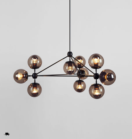 Chandelier - 3 Sided, 10 Globes (Black/Smoke)