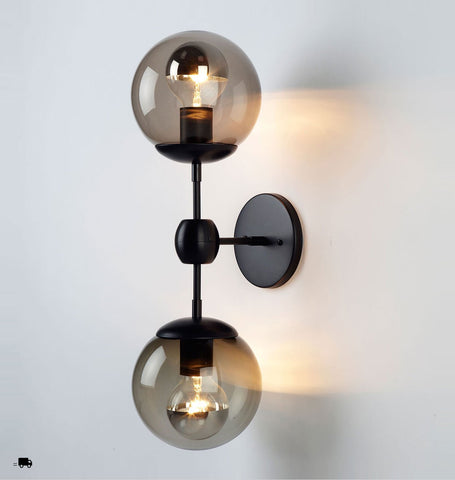 Sconce - 2 Globes (Black/Smoke)