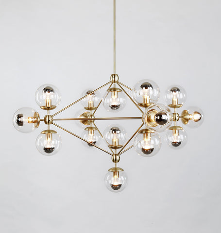 Chandelier - 4 Sided, 15 Globes (Brushed brass/Clear)