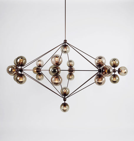 Chandelier - 8 Sided, 27 Globes (Bronze/Smoke)