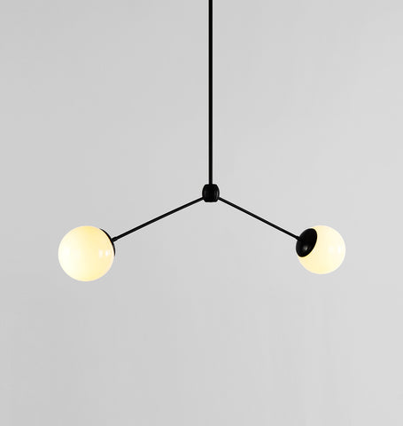 Pendant - 2 Globes (Black/Cream)