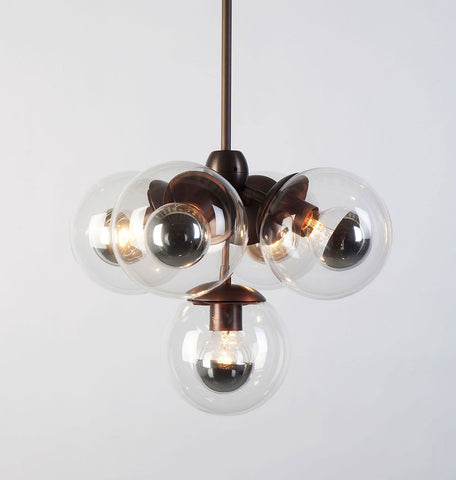 Pendant - 5 Globes (Bronze/Clear)