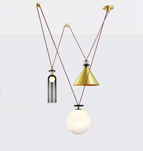 3-Piece Chandelier (Brushed brass cone)