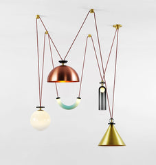 5-Piece Chandelier (Brushed brass cone/Brushed copper hemisphere)