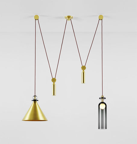 Double Pendant (Brushed brass cone)