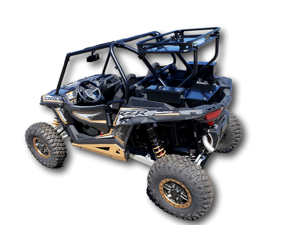 Polaris RZR 1000 rear Cargo Storage Rack heavy duty aluminum with clamps black powdercoated