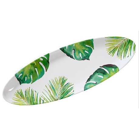 Tropical Leaf Melamine Oval Serving Tray with 3 Mini Bowls