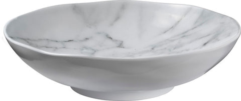 White Marble Round Melamine Serving Bowl