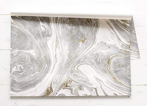 Grey & Gold Marbled Paper Placemats - 24 Sheets