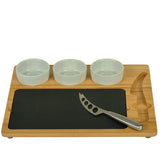 Three Ceramic Bowl with Slate Board and Knife