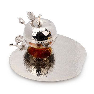 Apple Honey Dish Silver - Miami Home Decor