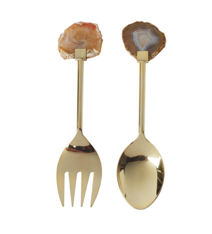 Set of 2 Gold Salad Servers with Agate