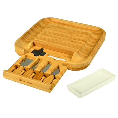 Cheese Bamboo Board with Ceramic Dish