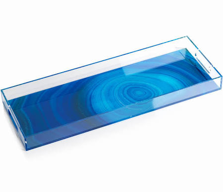 Acrylic Deep Blue Agate Tray Rectangular