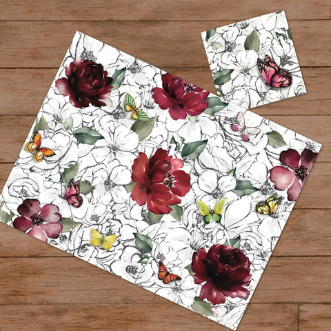 Butterflies & Flowers Paper Placemats & Coasters - Set of 12