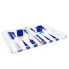 Blue/White Acrylic Backgammon Set