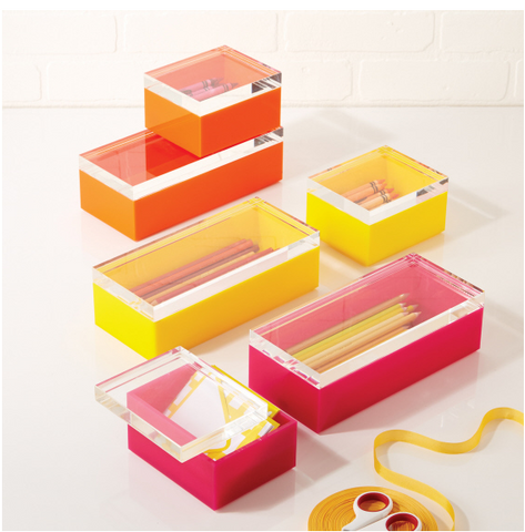 Set of 2 Acrylic Boxes Asst 3 Colors in 2 Sizes