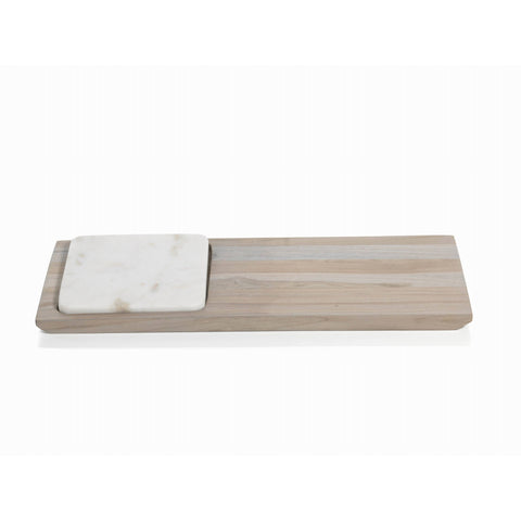 Rectangular Wood and Marble Tray