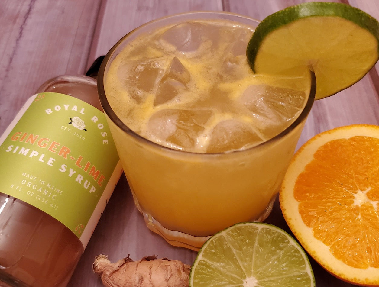 Not your average ginger spirit free drink with royal rose organic ginger lime simple syrup