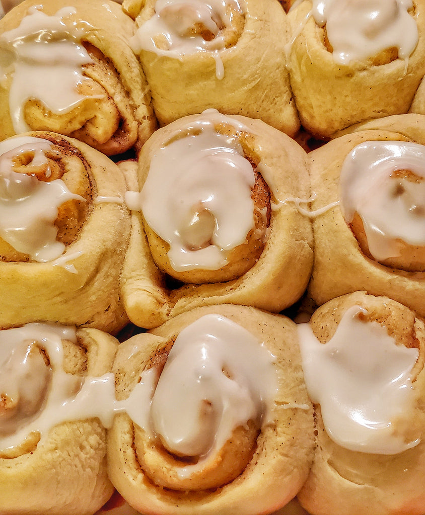Orange Vanilla Glaze on Cinnamon Rolls