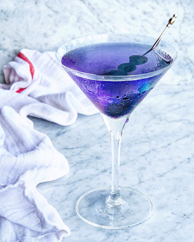 A Blueberry Butterfly cocktail with Blueberry Organic Simple Syrup by Royal Rose Syrups