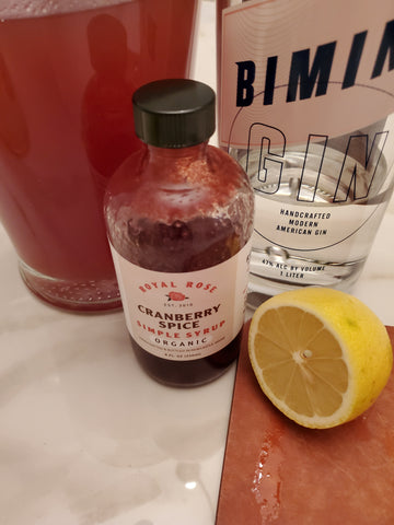 Prep for the cocktail creation! Royal Rose Syrup and Bimini Gin.