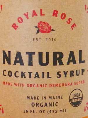 Label from our Natural Syrup showcasing Organic Text.
