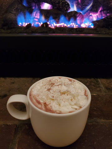 Time to kick back and enjoy the Three Chile Hot Coco with Royal Rose Syrup.