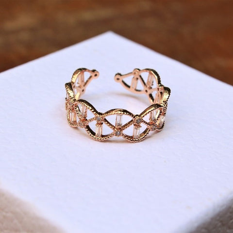 Beaded Rose Gold Filigree Ring