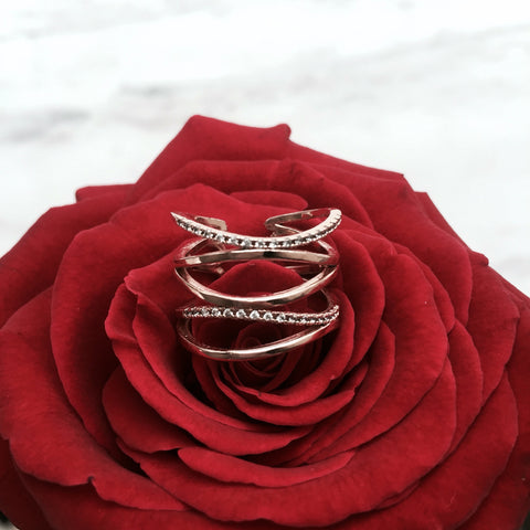 Faux Stacked Rose Gold Ring - Aleli Jewels