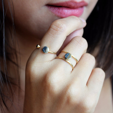 Ring Set of 2 Adjustable Black Marble Rings