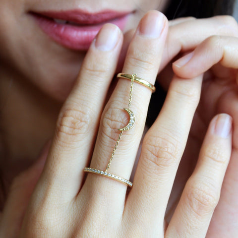 Double Chain Moon Ring
