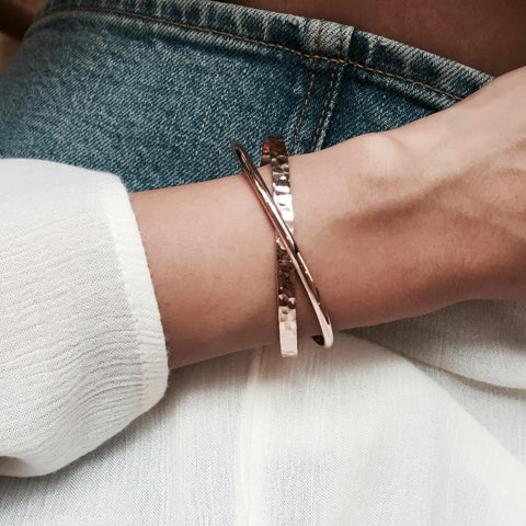 Criss Cross Rose Gold Bangle