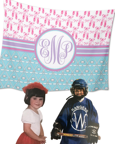 Multi-Sport:  Ice Hockey & Ballet Fleece Blanket