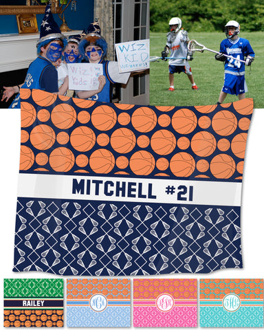 Multi-Sport:  Basketball & Lacrosse Fleece Blankets