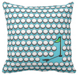 Golf Monogram Pillow (Aqua Blue)