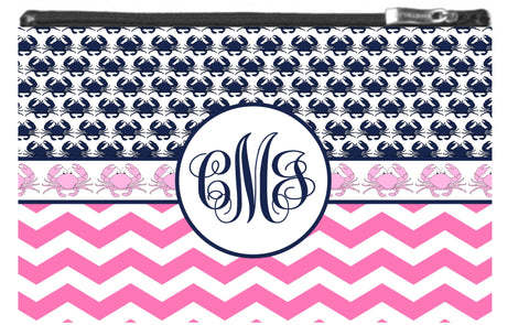 Crab Monogram Zipper Pouch