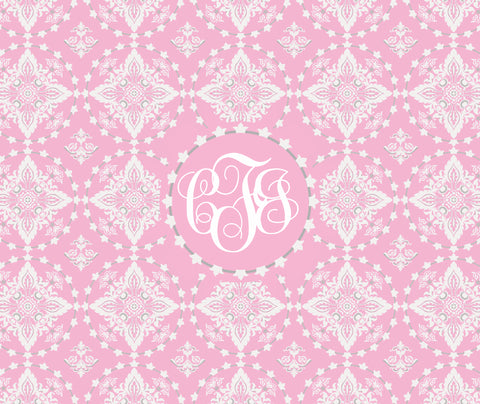 Damask Fleece Blanket (Pink & Gray)