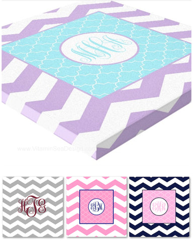 Chevron & Moroccan Monogram Canvas Prints
