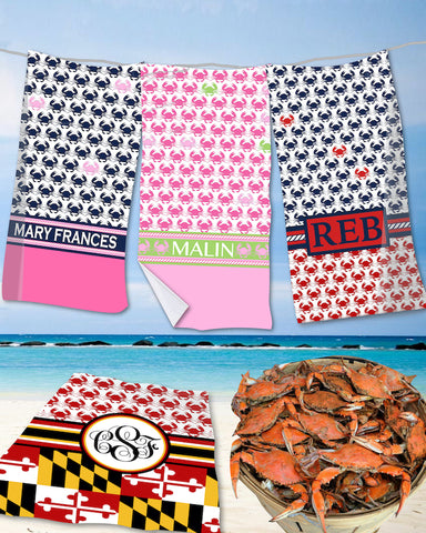 Crab Monogram Beach Towels
